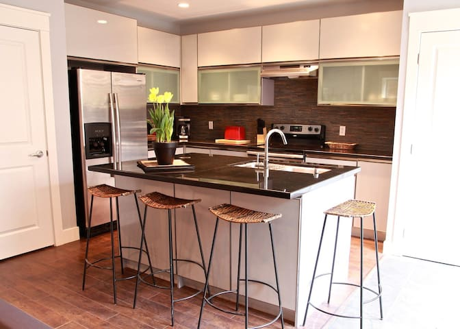 Euro style kitchen with all the comforts of home......including dishwasher