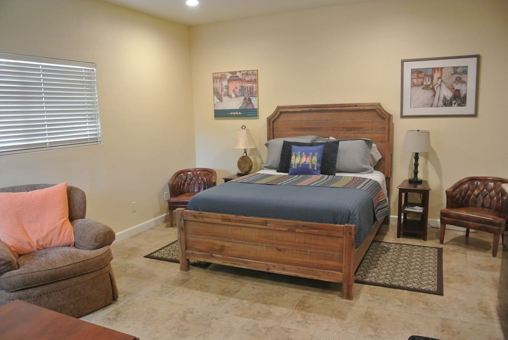 Your private Casita has a queen bed, comfortable linens and nightstands with reading lights.