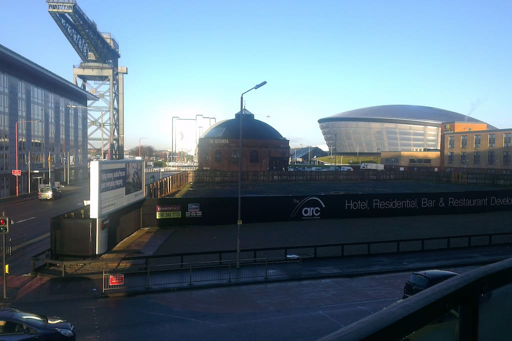 The view from the west facing balcony towards the Hydro, Rotunda and the Finnieston Crane