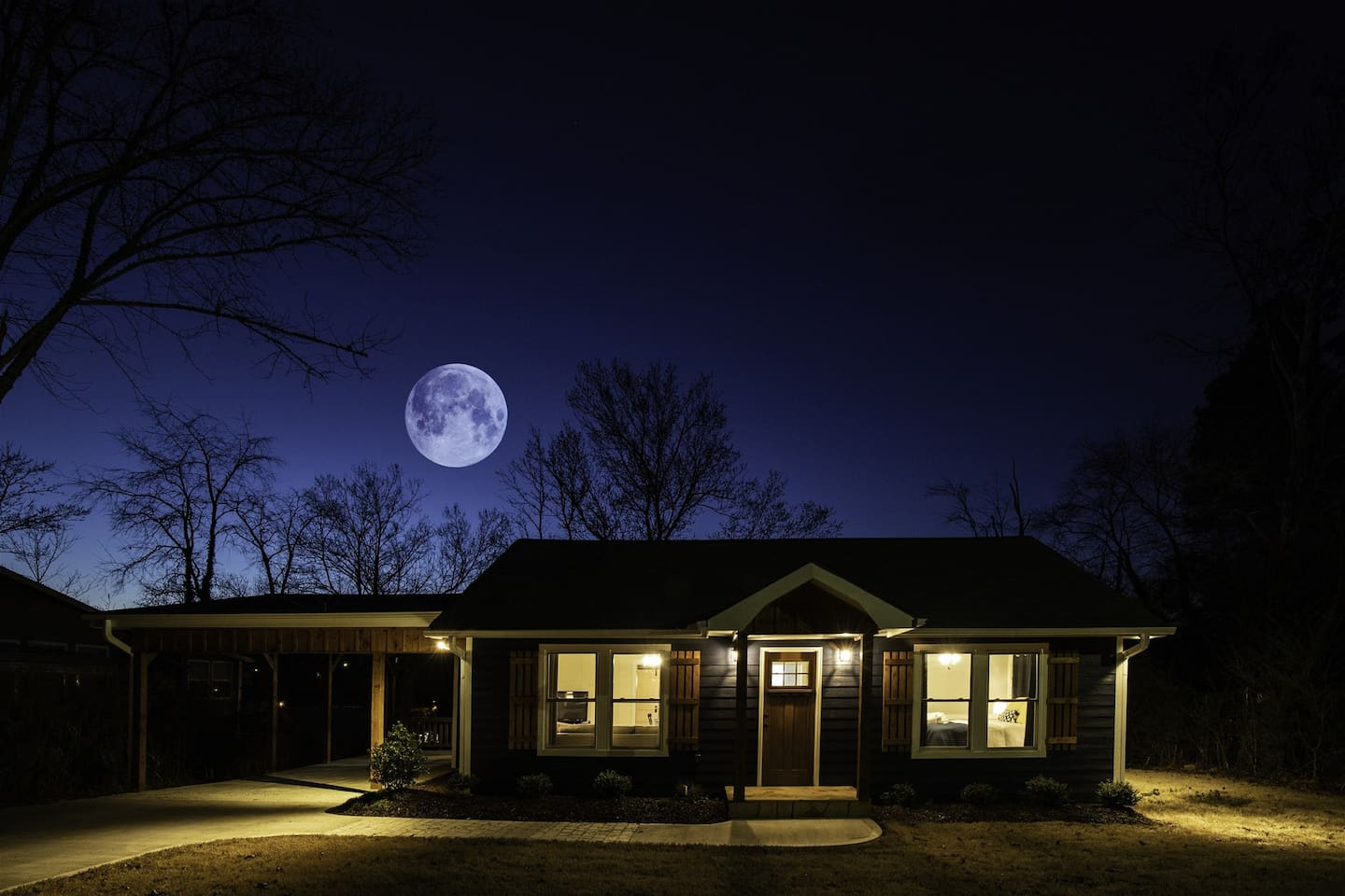 Blue Moon Cottage at night