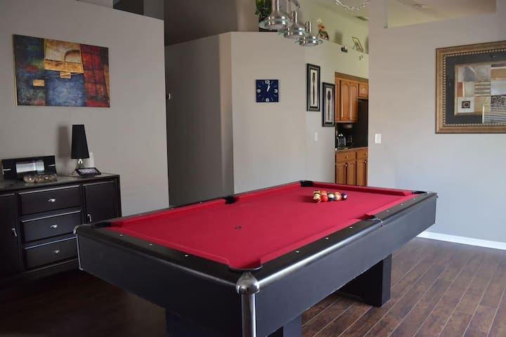 We have a luxury pool table, challenge your relatives and friends for a match!