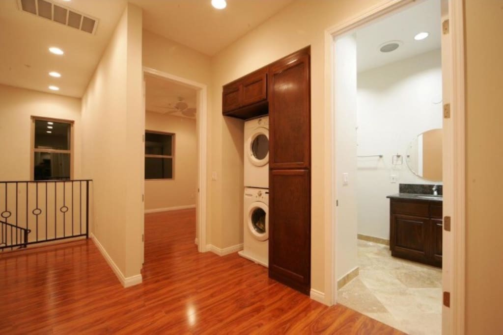 Washer and dryer, and all essentials included.