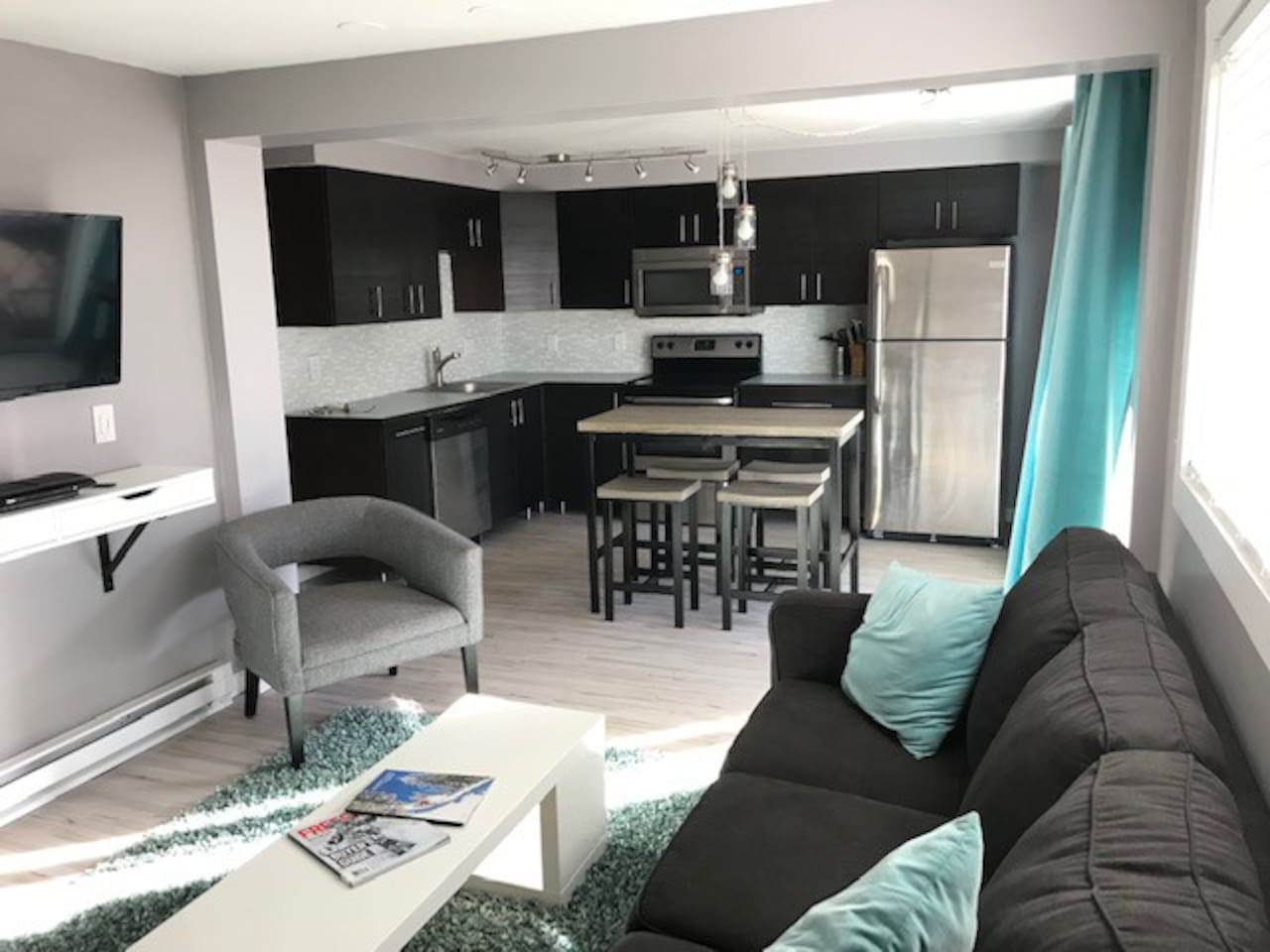Remodeled kitchen with new appliances and everything you need for meal prep.  Couch pulls out to sleep 2.