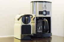 Make a morning cup of coffee with the Nespresso machine or drip coffee maker.