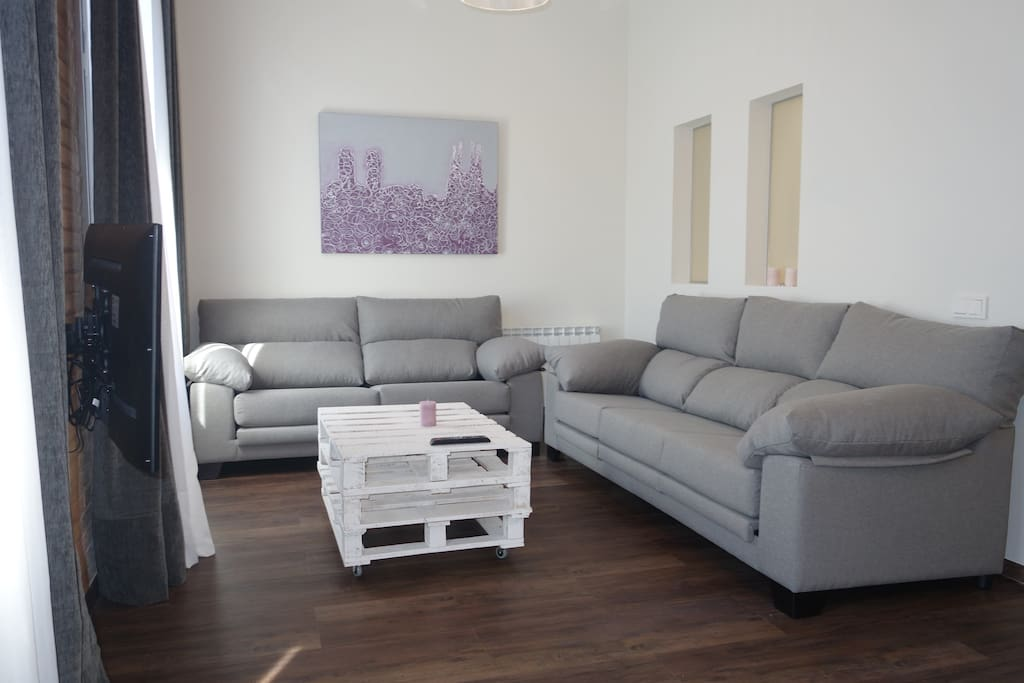 LIving room. Two big and comfortable sofas. Two balconys , Smart TV with sattelite connection, wifi.
