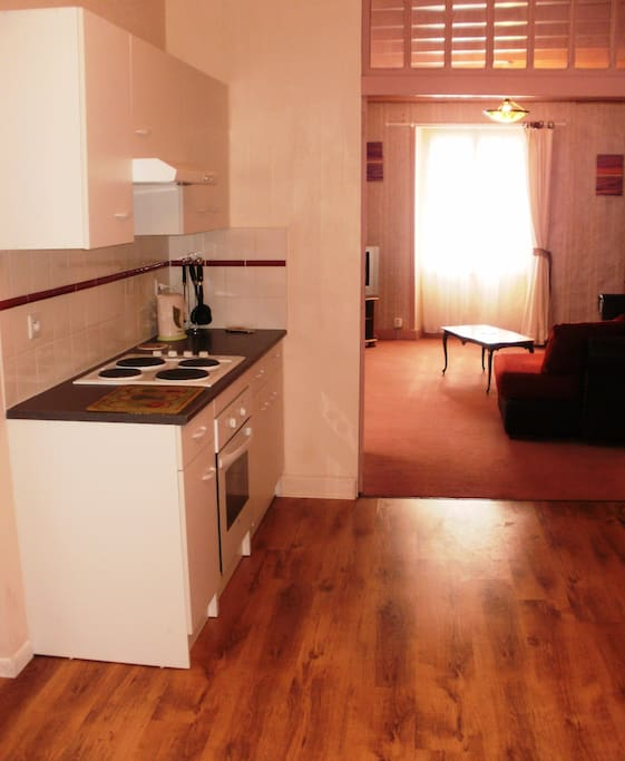 Fitted kitchen / diner with electric oven and hob. Includes all crockery and cutlery.