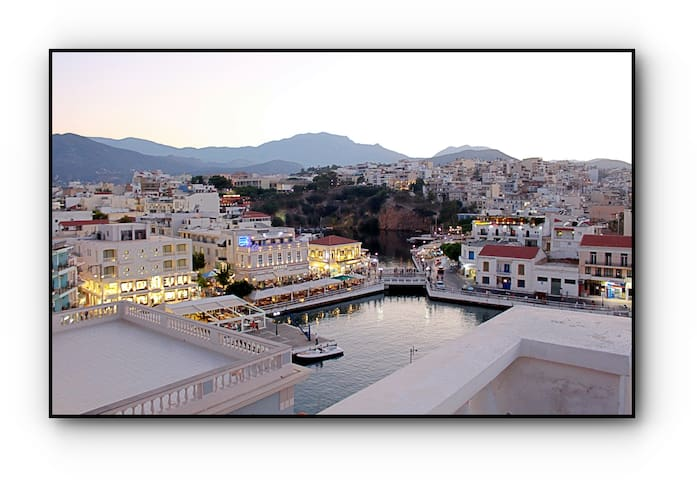 As seen from the terrace - Aghios Nikolaos by night