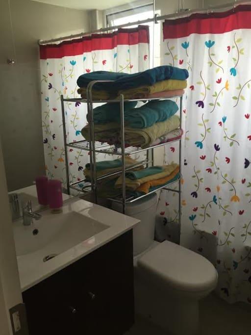 baño al lado de la habitación con uso exclusivo