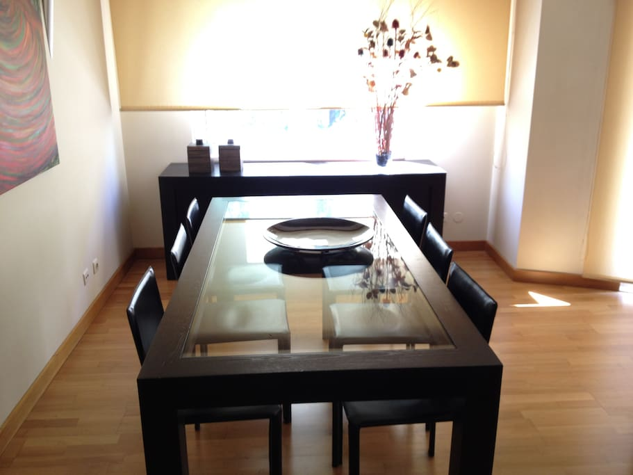 Dining table for six.
