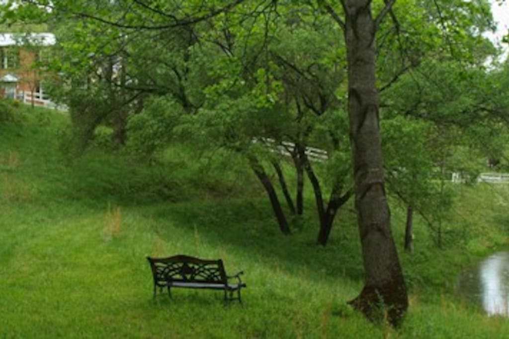Enjoy sitting on the bench overlooking the pond and gazebo -