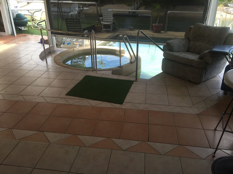 Spa and pool with access to canal!