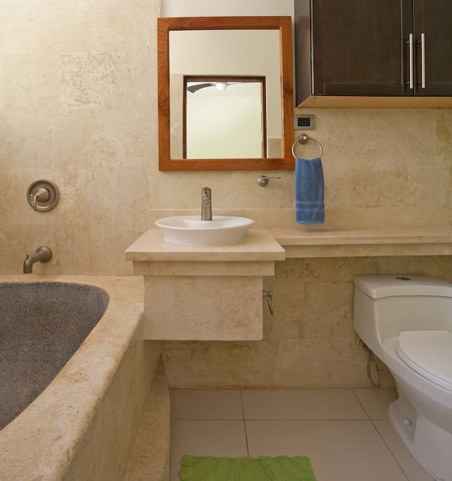 Beautiful, clean modern bathrooms. We provide plenty bath and beach towels to our guests.