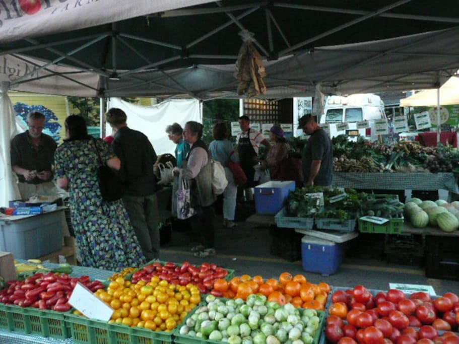 Woodstock Wed. Farm Market - Have dinner out, listen to music and exhibits at the farm market - a five minute walk from the house.