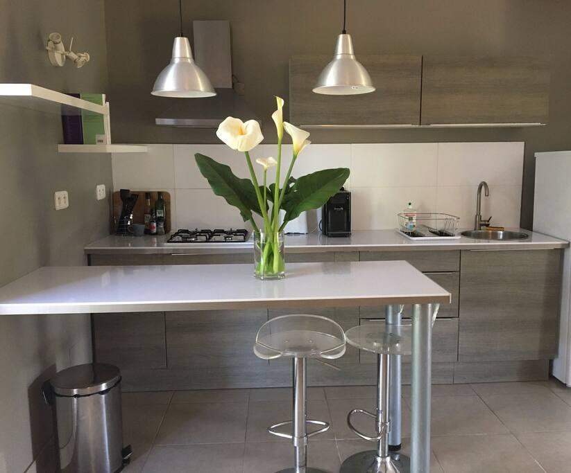 cuisine design et fonctionnelle. grille pain, machine à café, plaque 4 feux gaz. sur la terrasse une plancha électrique est a votre disposition