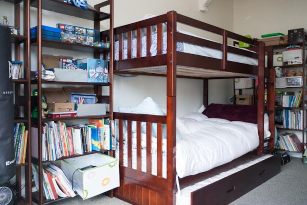 Kids room bunk bed and trundle