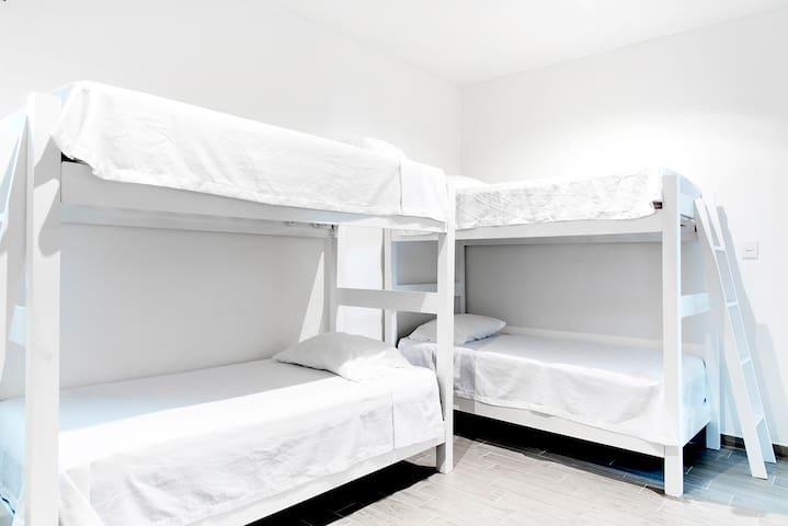 Second bedroom, 2 bunk beds, 4 beds total.