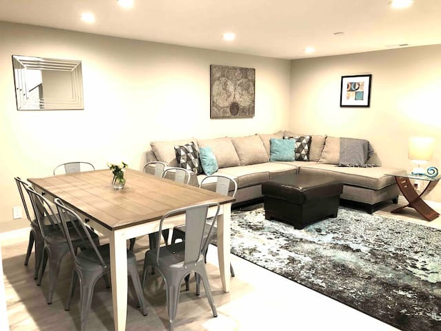 Newly-remodeled modern dining and living space