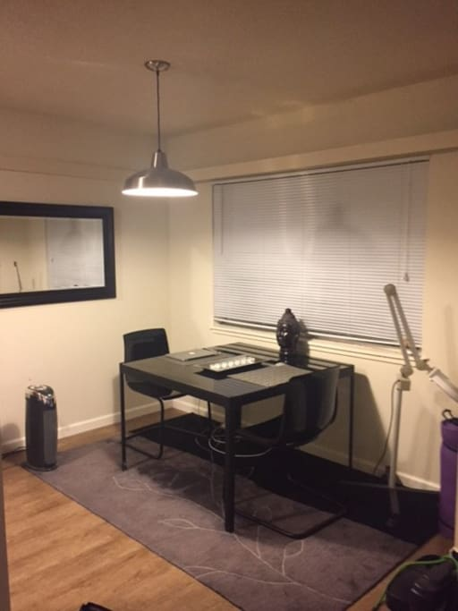 Dining Room - perfect work space, with wifi color printer, scanner and copier.