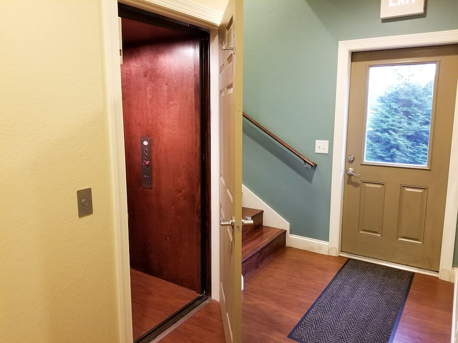 Separate Residential Entrance with Residential Elevator