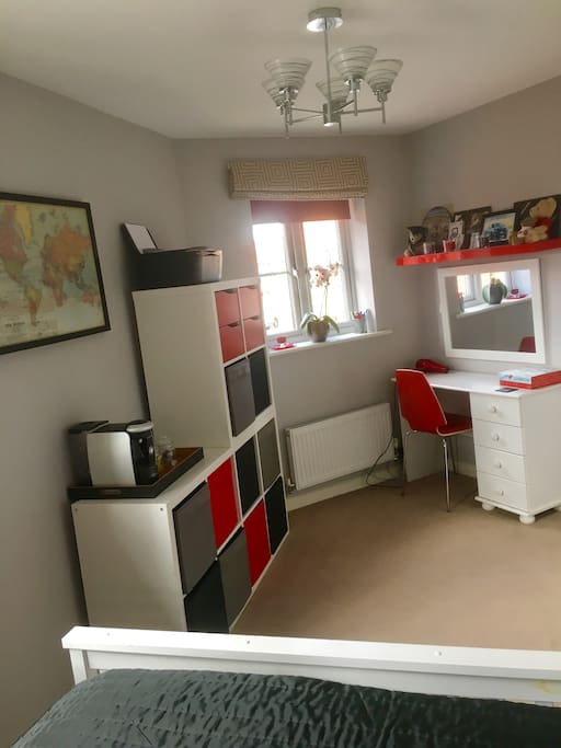 Coffee/tea machine, storage, printer, dressing table, hairdryer