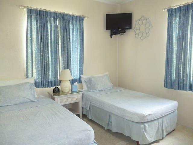 Spacious room with two comfy beds