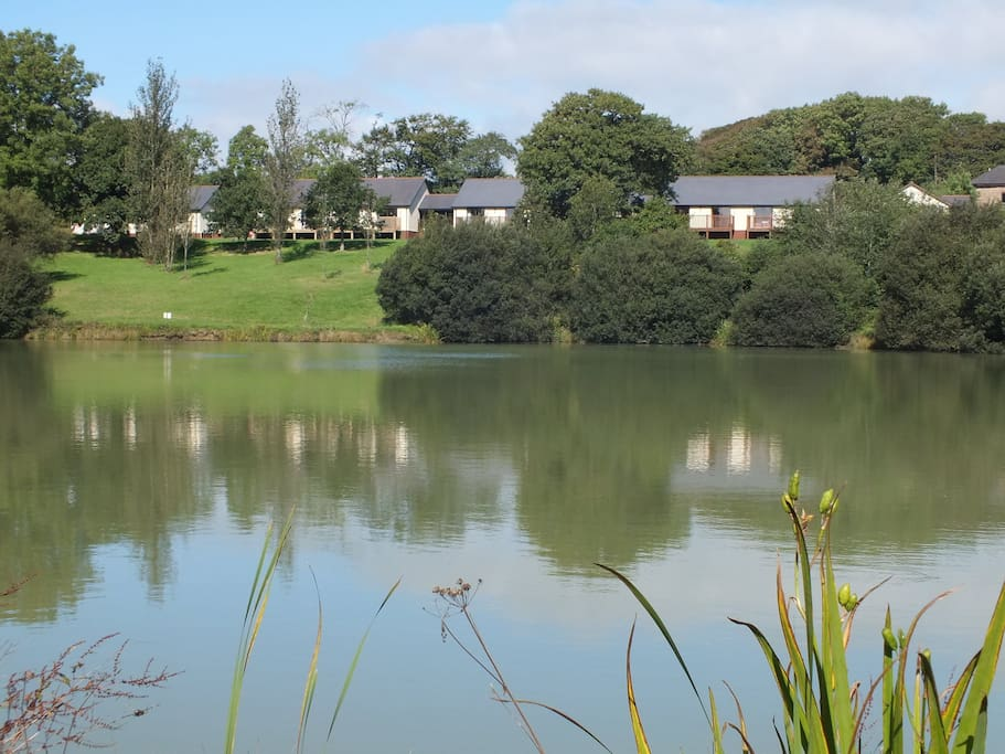 View across fishing lake to Blagdon Farm fully accessible luxury lakeside lodges
