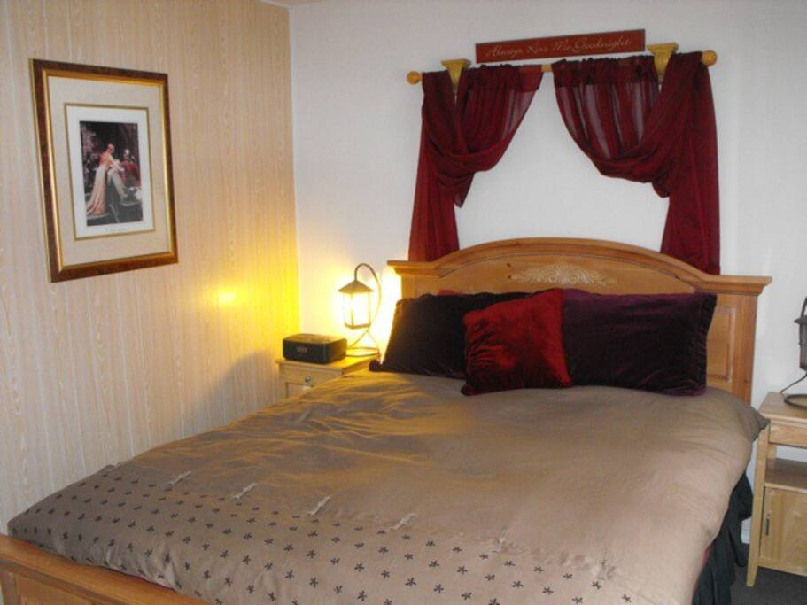 As you enter, a wonderful invitation to a very restful night!  A comfortable queen bed.