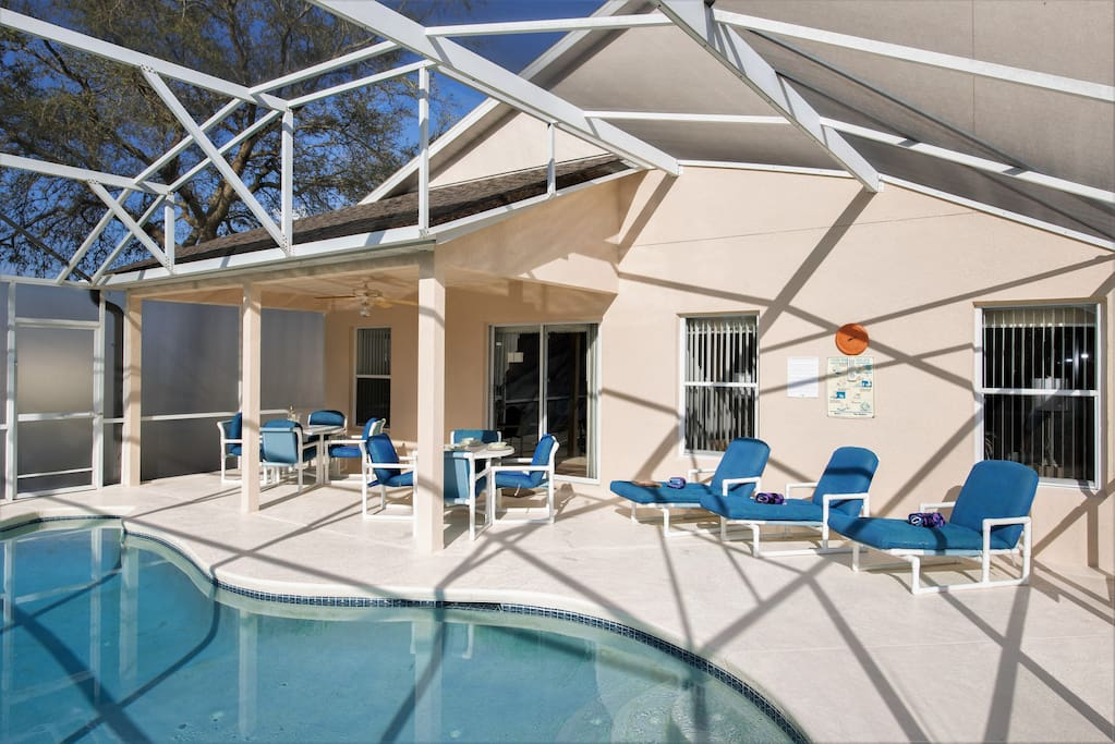 Escape the Florida midday sun by taking shade under the lanai - also a great spot for outside dining