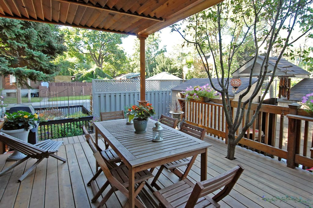 Private garden with deck and gas BBQ. Also direct access to parking.