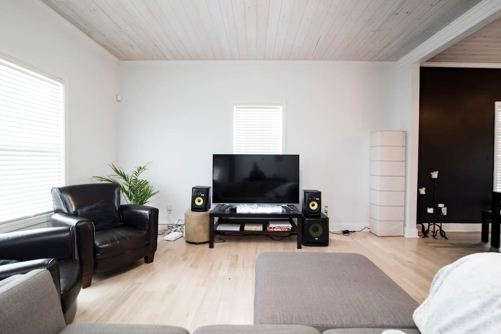 Living Room w/ 4K TV, professional studio speakers & Netflix