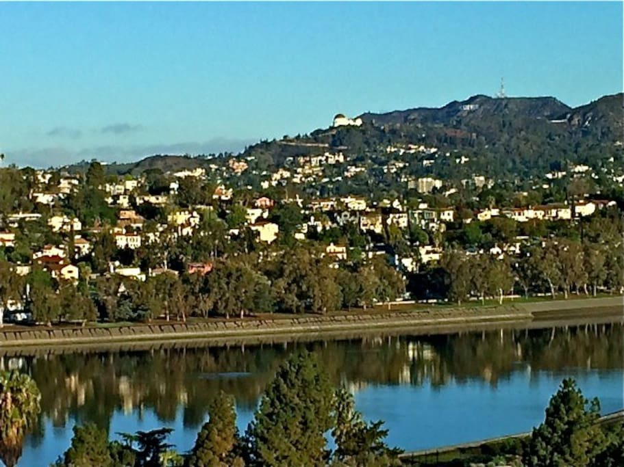 View of Silver Lake Reservoir, Griffith Park Observatory, Hollywood Sign from almost every room.