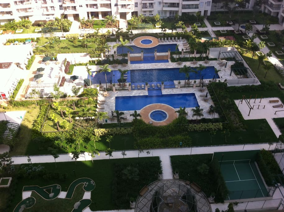 Apartment view. Pool and condo amenities