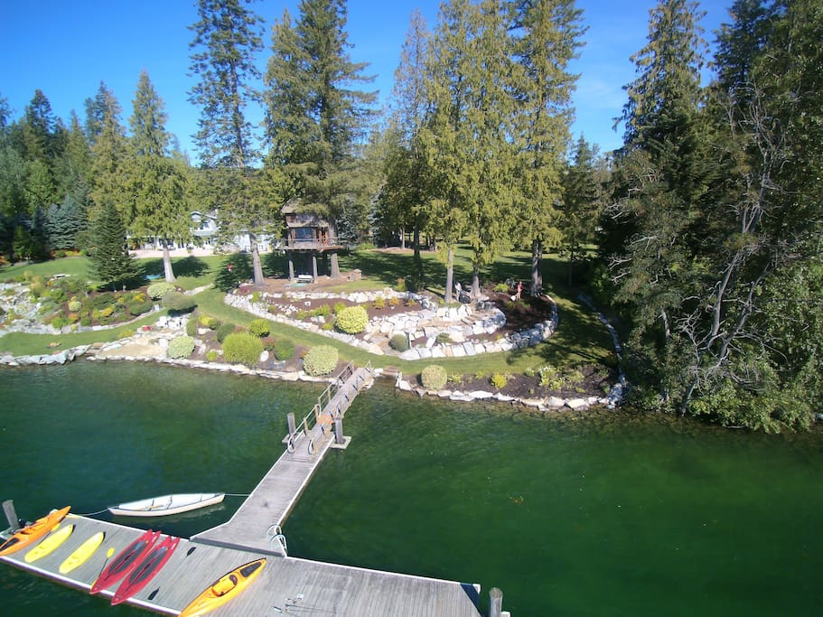 Looking back at treehouse and dock from above Lake Pend O'reille