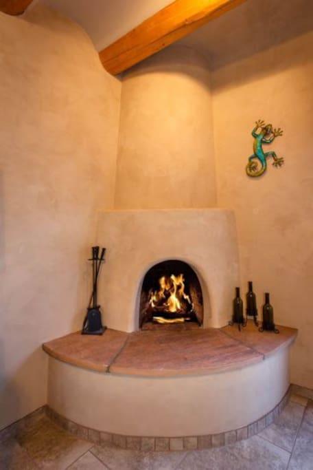 Working, kiva fireplace