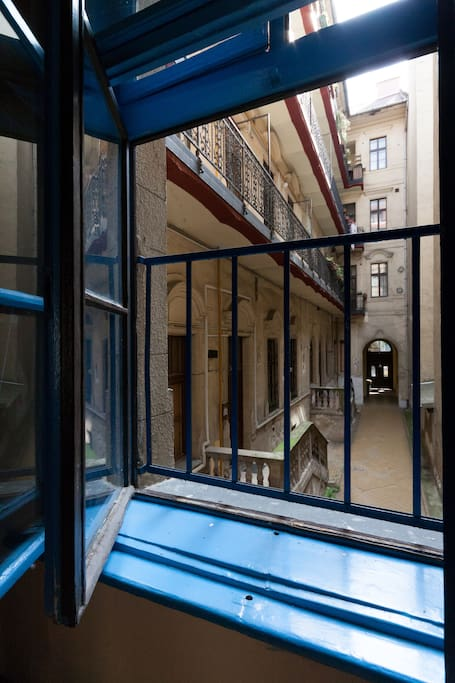 Lookout through the blue window to the inner courtyard