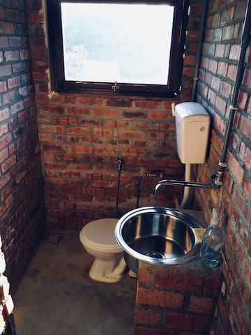 Flushing toilet and running water basin