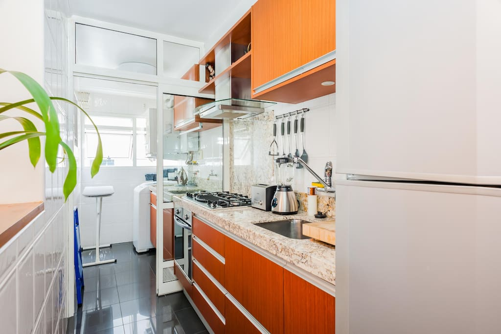 Full view of kitchen and service area with washer + dryer.  Modern stovetop and oven.  Exceptional lighting.