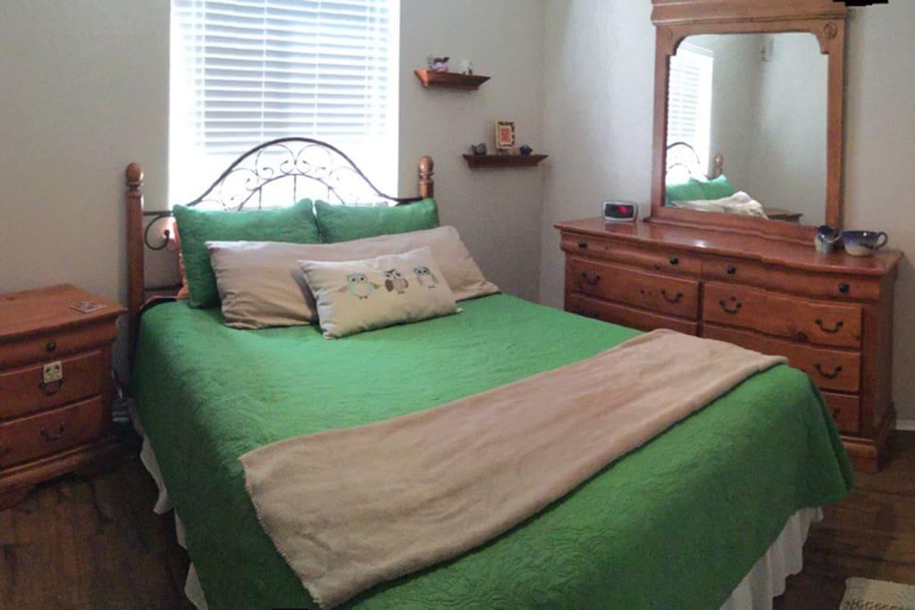 Green Rm - Qn  Closet space, laminated floor