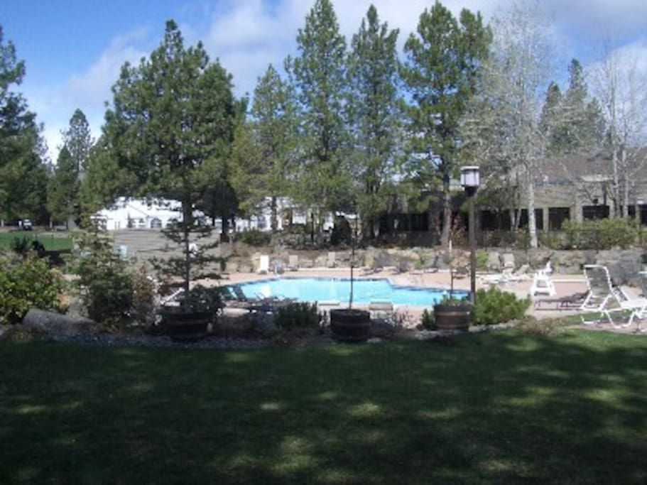 One of three heated swimming pools