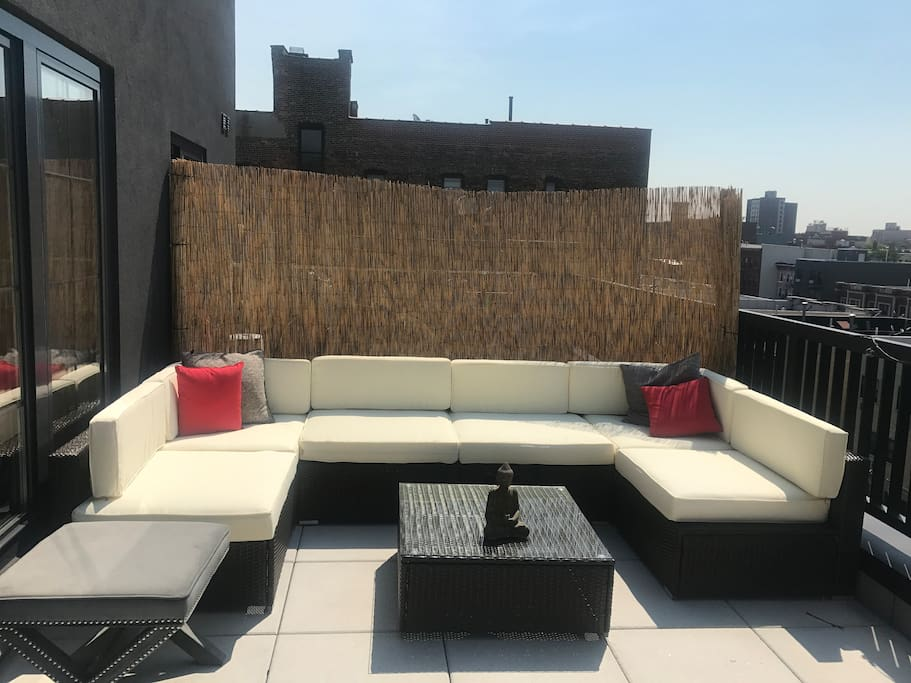 1 of 2 outdoor private roof decks off the apt -- this is the one off the living room with garden views