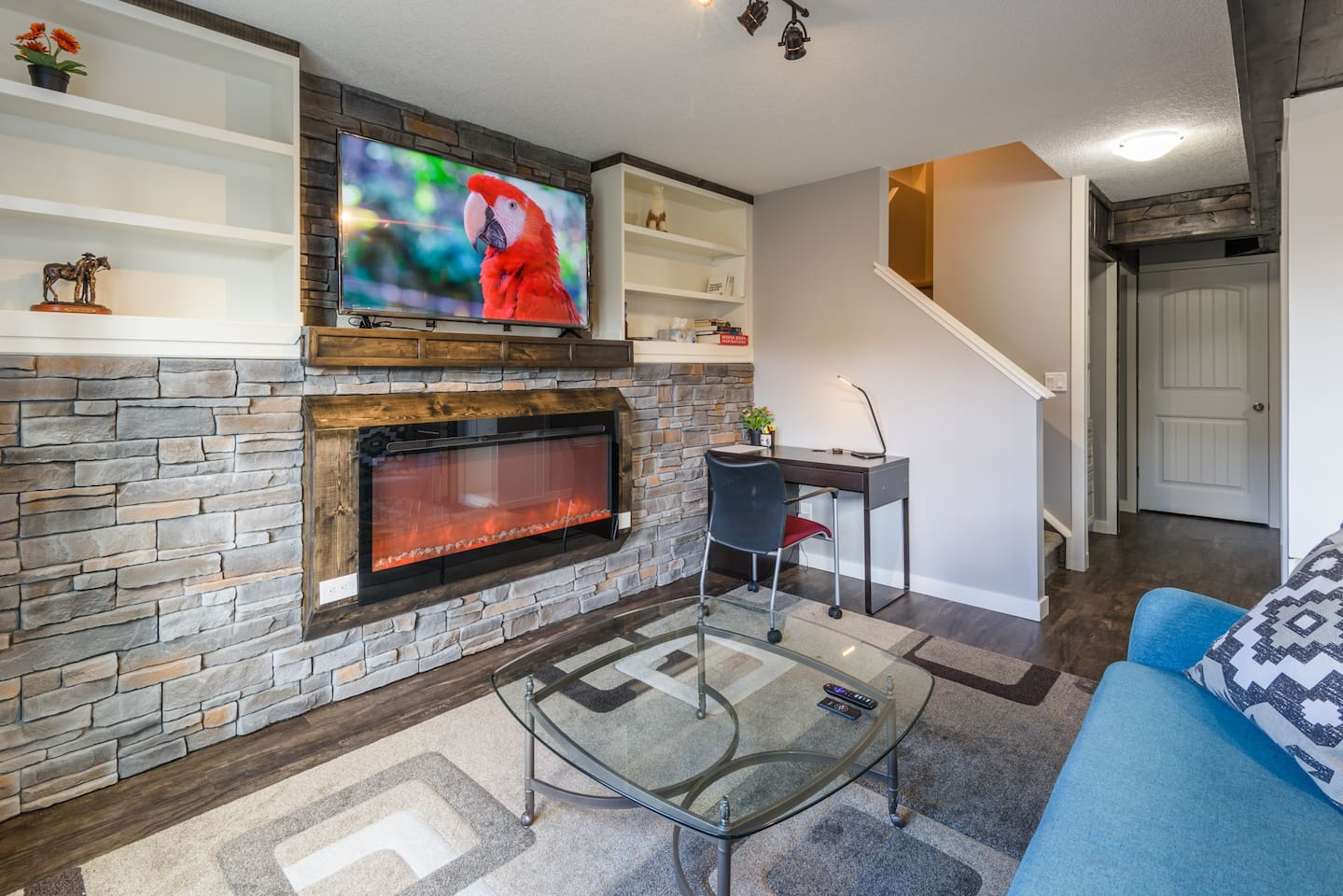 TV, Fire place  and Calgary local  magazines  and work place