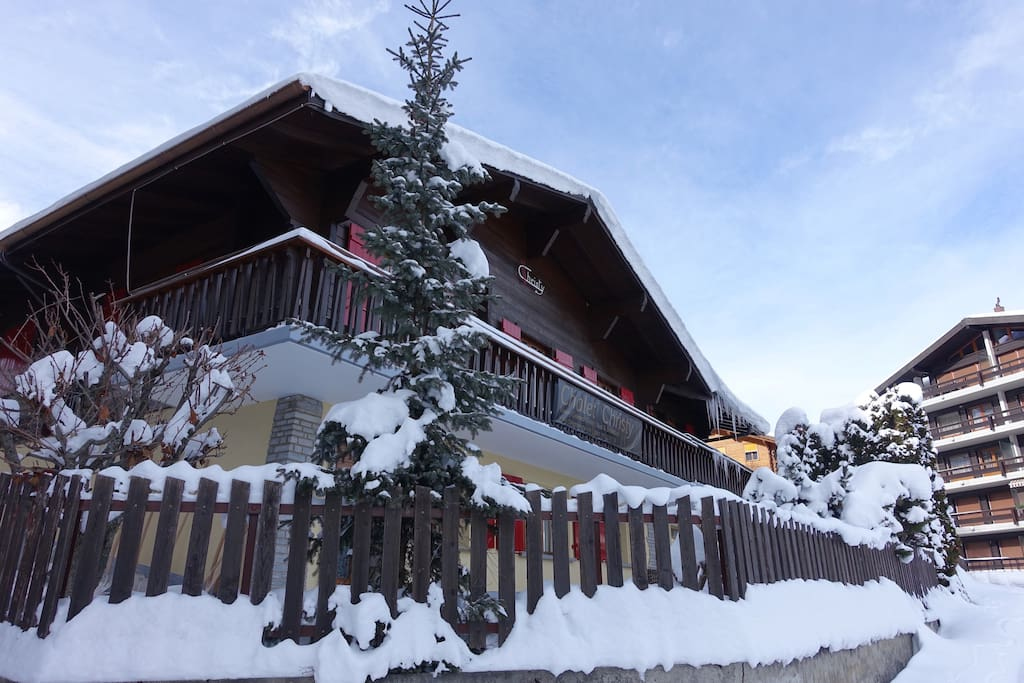 Winter view of Chalet Christy