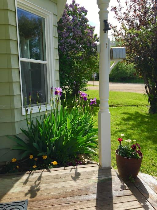 Spring garden front porch