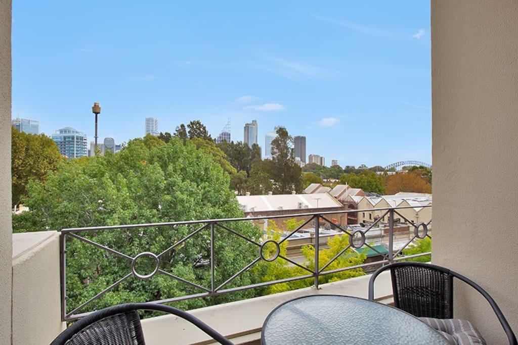 Balcony/living room views to CBD, Botanical Gardens, and Sydney Harbour Bridge