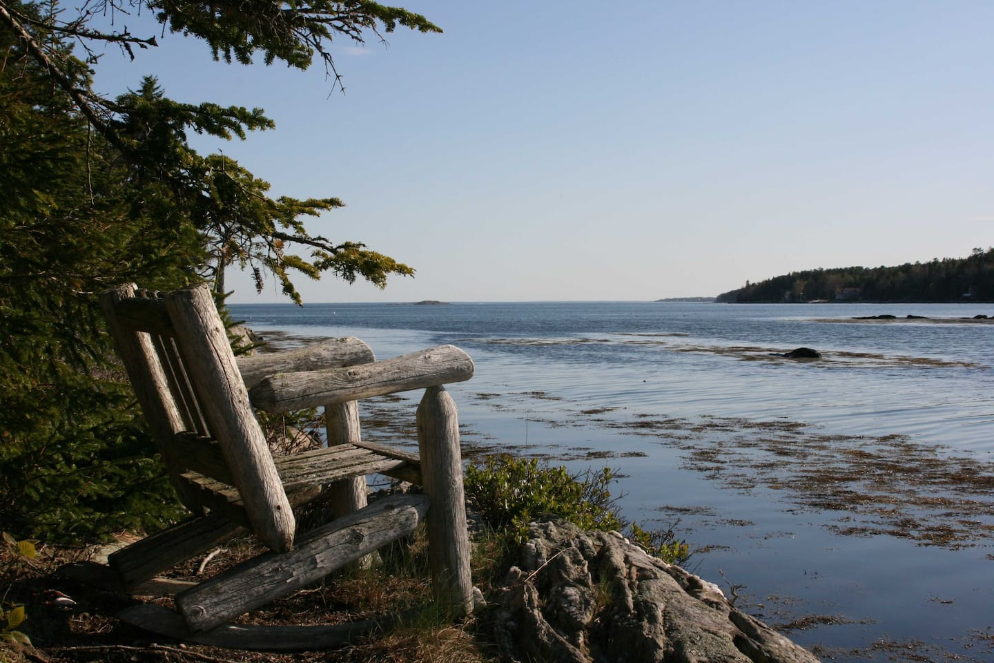 View looking out of Gun Point Cove towards open ocean.