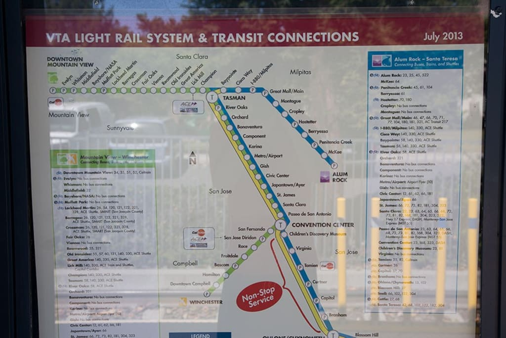 VTA Light Rail is extensive! $2.00 per ride!