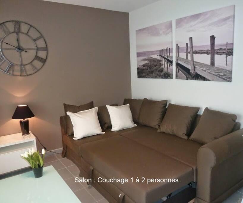 Canapé lit très confortable et facile à convertir. Draps fournis