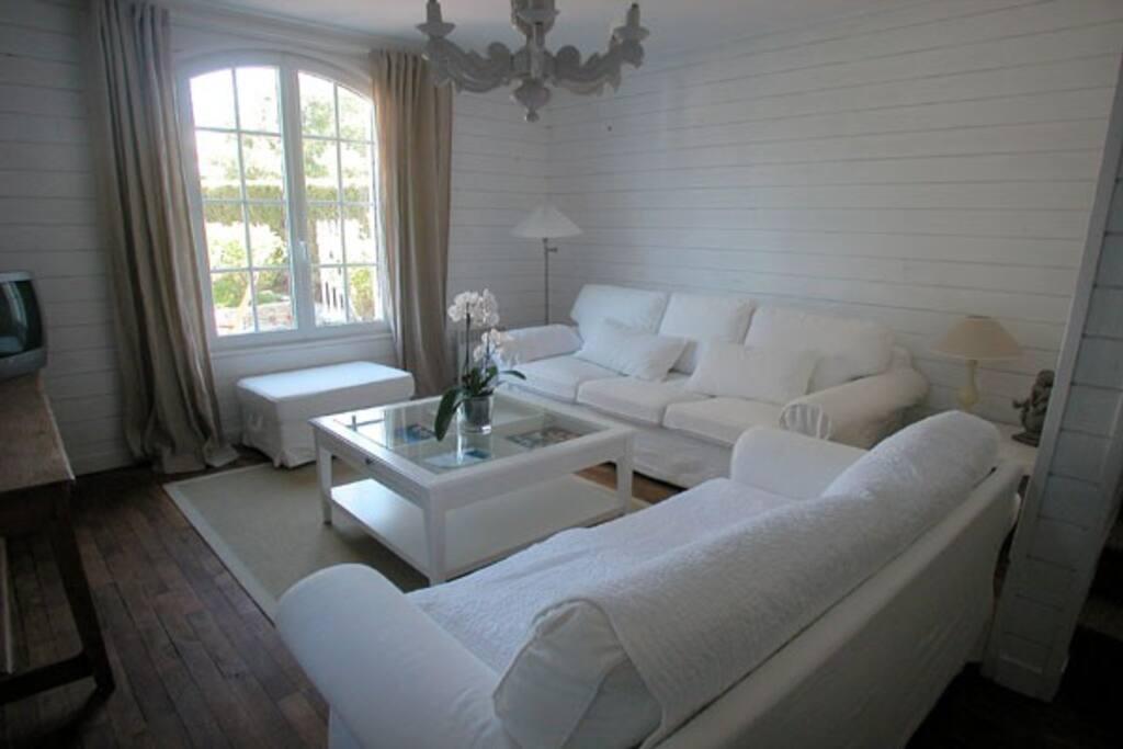 salon avec un canapé deux places et un canapé-lit trois places