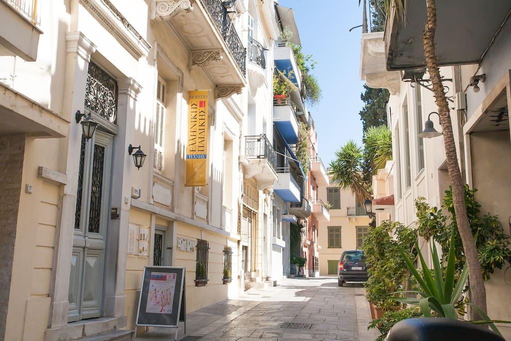 Maison néo-classique dans cette rue piètonne