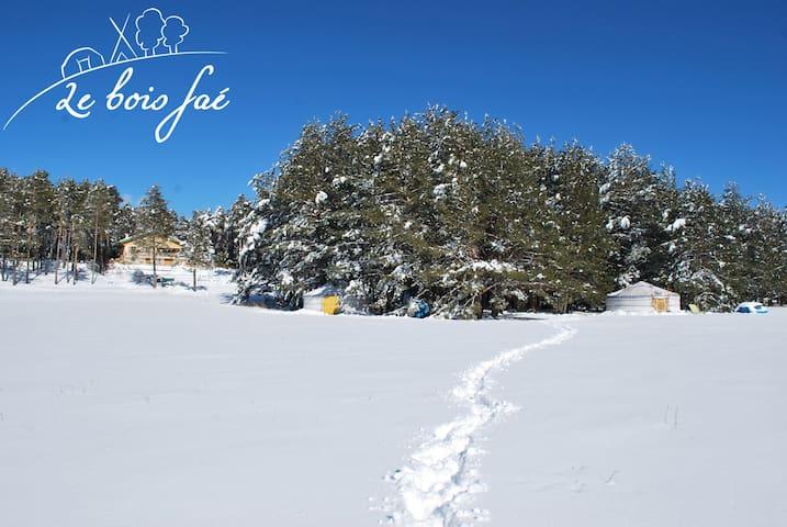 vue sur le jardin du bois faé en hiver